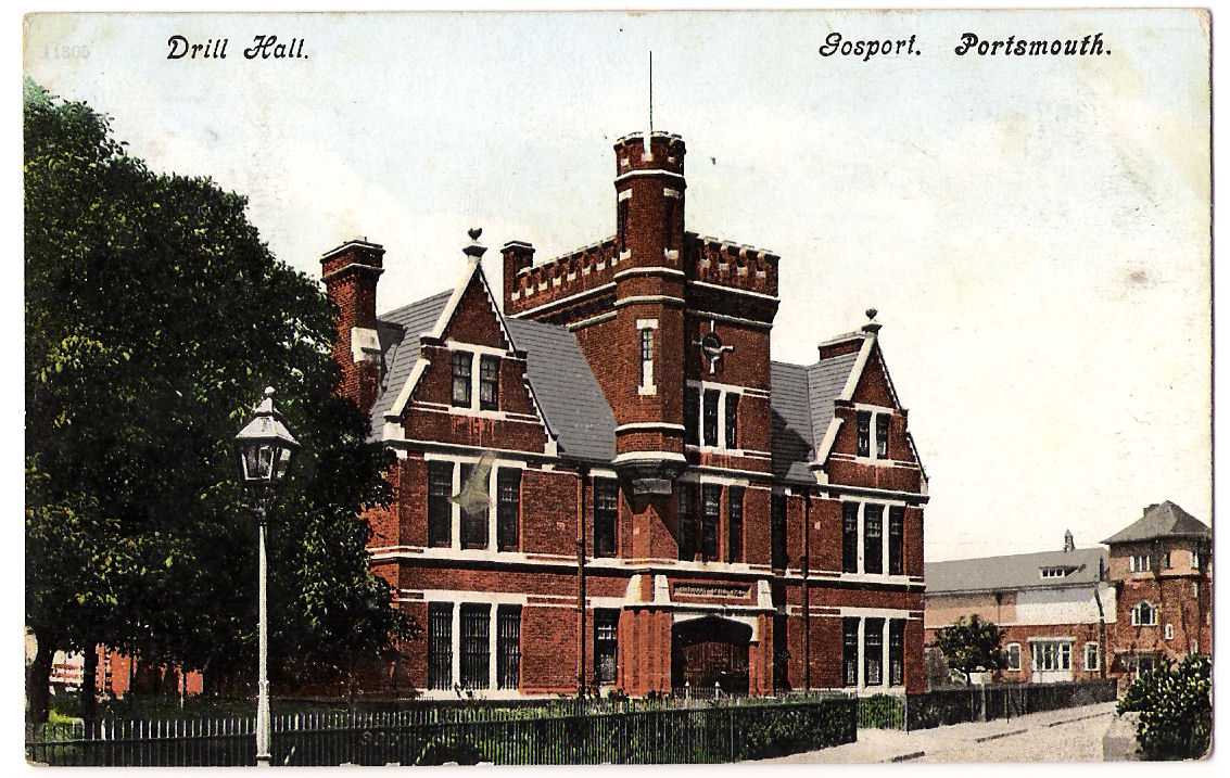 Postcard of Gosport Connaught drill Hall - Posted 1910